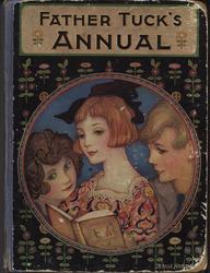FATHER TUCK'S ANNUAL three children read a book, circular art deco design