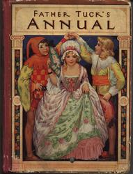"FATHER TUCK""S ANNUAL girl wearing long pink and green gown walks under arch made by two court jesters"
