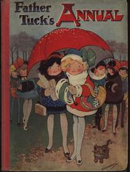FATHER TUCK'S ANNUAL two girls huddle under a red umbrella