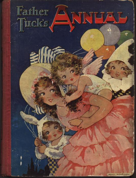 FATHER TUCK'S ANNUAL girl in pink dress carries child dressed as an angel on her back, two children dressed in costumes with balloons