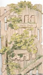 HAPPY DAYS GOOD WISHES in gilt, perforated palisade white fence & ginkgo leaf design,  perforated ginkgo leaf design