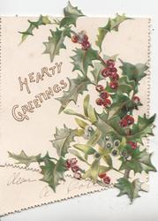 HEARTY GREETINGS in yellow, glittered holly & mistletoe right, robin  flies on outside back