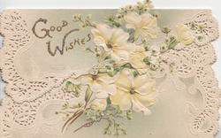 GOOD WISHES in gilt, above left,  white perforated design around yellow primroses