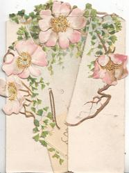 YOURS SINCERELY pink wild roses & ginkgo leaves on 2 flaps & back, embossed