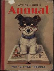 FATHER TUCK'S ANNUAL FOR LITTLE PEOPLE small dog with blue collar and wearing glasses sits on open book