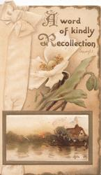 A WORD OF KINDLY RECOLLECTION in gilt above cream anemones, gilt framed watery cottage inset