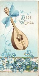 BEST  WISHES upper right, banjo tied with blue bow above forget-me-nots coming up through perforated base