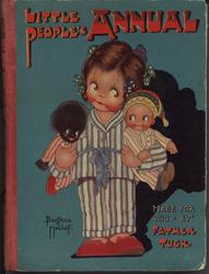 girl stands in striped pajamas with a golliwog under one arm and a doll under the other, blue background