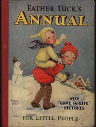 girl in red coat gives another girl a piggyback ride, snowman and snowy scene in background