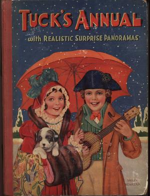 boy with guitar and girl with dog under an orange umbrella, blue background, front cover art by MOLLY BENATAR