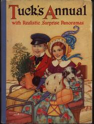 boy holding potted tree and girl with small dog sit on carriage seat, yellow background, front cover art by MOLLY BENATAR