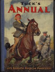 girl on brown horse jumps hedge followed by a boy on a grey horse, front cover art by C.E. BROCK