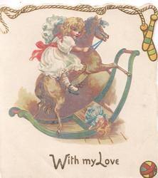WITH MY LOVE in gilt below girll riding a rocking horse, skipping rope above
