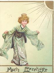 MERRY GREETINGSin gilt at base, Japanese girl in green kimono standing with out-stretched arms