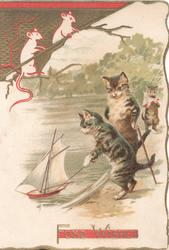 FOND WISHES in gilt below cat on hind legs sailing toy boat, another observes, white mice design top left