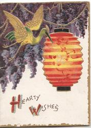 HEARTY WISHES(H & W illuminated) below gilt stylized bird & orange Japanese lantern, purple flowers left top
