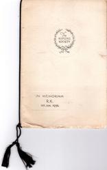 IN MEMORIUM R.K. 18TH JAN. 1936 below THE KIPLING SOCIETY in circular impressed border