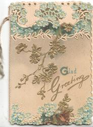 GLAD GREETING in gilt below stylised gilt flowers, forget-me-nots in designs above & below