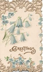GREETINGS in gilt below blue campanulas & forget-me-nots, perforated designed top & bottom designs