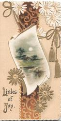 LINKS OF JOY design of gilt & white daisies above & below moonlit watery rural inset in front of vertical red & gilt design