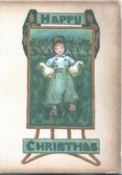 HAPPY CHRISTMAS Dutch boy with duck under each arm