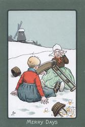 MERRY DAYS dutch woman sits crying in snow after collision with boy, many eggs broken, windmill behind