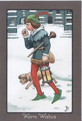 WARM WISHES boy walking left in snow blowing on his hand, carrting lamp & trumpet