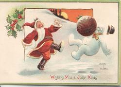 WISHING YOU A JOLLY XMAS Santa kicks a  Xmas pudding at personised snowman