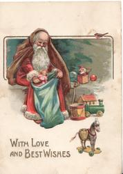 WITH LOVE AND BEST WISHES Santa in snow filling blue sack of toys, other toys around