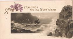 GREETINGS AND ALL GOOD WISHES in gilt right, purple violets left above rocky seascape