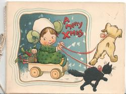 A MERRY CHRISTMAS in red above girl in trolly with doll & trolly pulled by dog & cat