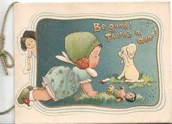 BE GOOD! THERE'S A DEAR! in in orange above girl upset as dog has broken doll's legs