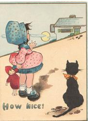 HOW NICE girl holding babys hand stands on sands at seashore, black cat observes