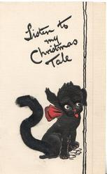 LISTEN TO MY CHRISTMAS TALE, dog with one ear up, the other down, tail applique