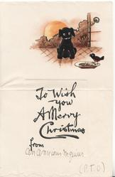 TO WISH YOU A MERRY CHRISTMAS FROM, black poodle puppy left, bird on plate right