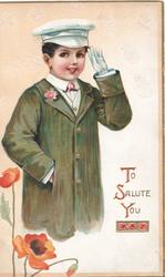 TO SALUTE YOU boy in chauffeurs outfit salutes, poppies below left