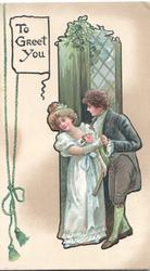 TO GREET YOU on white plaque top left next to printed bell pull, man & woman dance in front of window