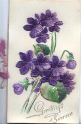 GREETINGS SINCERE in gilt at base below applique of plastic violets