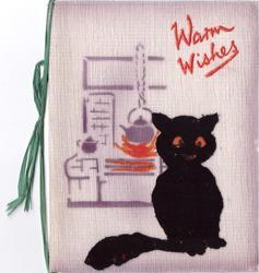 WARM WISHES opt. in orange, applique black cat beside silk-screened kettle over fire