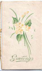 GREETINGS in green below daffodils