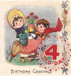 BIRTHDAY GREETINGS bonneted mother with flower pot, boy & dog behind, YOU ARE 4 TO-DAY on plastic applique