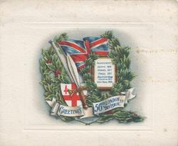 GREETINGS 56th LONDON DIVISION.T.F.,below flag, sword, holly