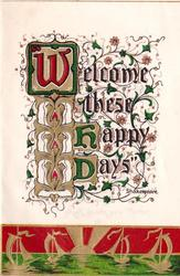 WELCOME THESE HAPPY DAYS illuminated text above inset of boats on the water, sunset