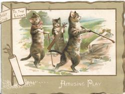 AMUSING PLAY 2 cats stand erect  holding gold clubs, caddy observes, sign top left GOLF CLUB & TO THE LINKS