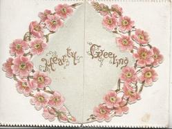HEARTY GREETING in gilt centrally in circlet of pink apple blossom
