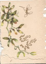 GOOD WISHES(G &W illuminated) mistletoe leaves & berries, white background & design