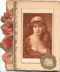 GOOD WISHES in gilt seal, portrait of woman in sepia