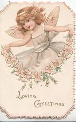 LOVING GREETINGS in gilt below chain of pink apple blossom held by flying angel