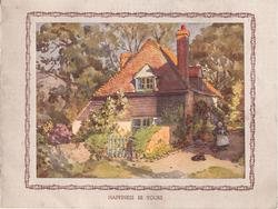 HAPPINESS BE YOURS elderly woman sits with black cat right of cottage, decorative brown border