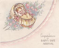 CONGRATULATIONS ON BABY'S SAFE ARRIVAL baby in yellow bassinet rests in blossoming tree